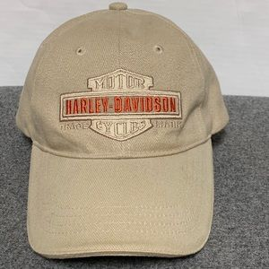 Harley Davidson Tan Logo Adjustable Leather Hat